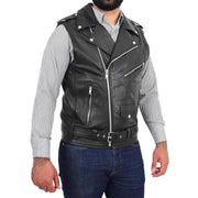 Mens Cowhide Leather Biker Waistcoat Sleeveless Brando Style Gilet Hurley Black Front 1