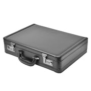 Business Executive Black Leather Look Briefcase Attache BC23 Front Letdown