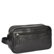 Wash Leather Bag Travel Toiletry Shaving Kit Wrist Bag A98 Black Back
