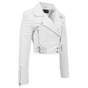 Womens Fitted Cropped Bustier Style Leather Jacket Amanda White 3