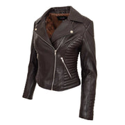 Womens Designer Leather Biker Jacket Fitted Quilted Coat Bonita Brown Front Angle 1