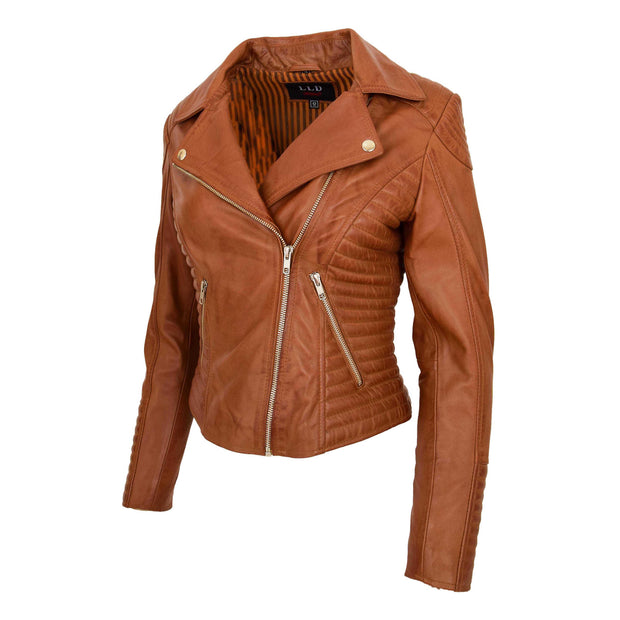 Womens Designer Leather Biker Jacket Fitted Quilted Coat Bonita Tan Front Angle 1
