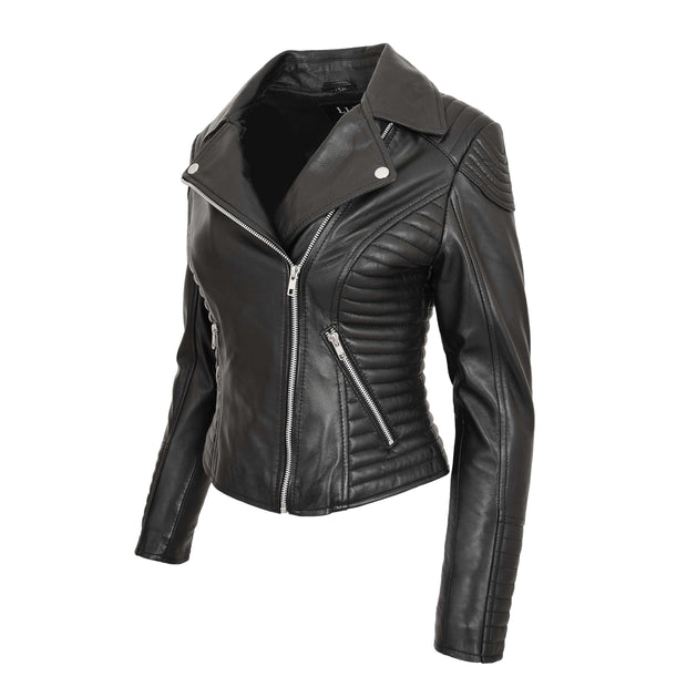Womens Designer Leather Biker Jacket Fitted Quilted Coat Bonita Black Front Angle 1