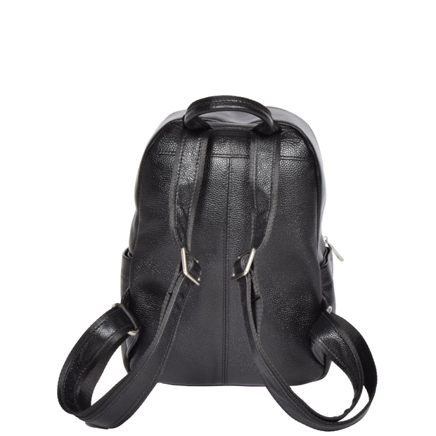 Girls Real Black Leather Backpack Work Casual Classic Bag Kaya Back
