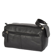 Genuine Soft Leather BLACK Travel Wash Bag A179 Back