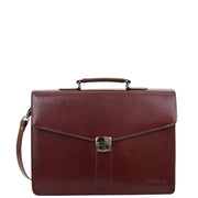 Brown Leather Briefcase For Mens Laptop Business Organiser Shoulder Bag Alvin Front 3