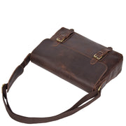 Real Leather Cross Body Messenger Shoulder Bag Luxor Brown Front Letdown