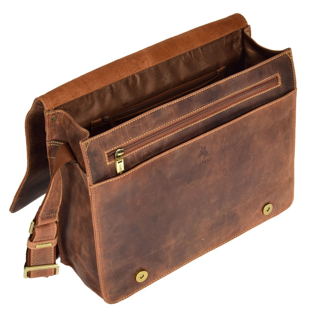 Mens Messenger TAN Vintage Leather Laptop Office Bag A48 Open
