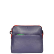 Womens Soft Leather Cross Body PURPLE Sling Shoulder Bag Polly Front