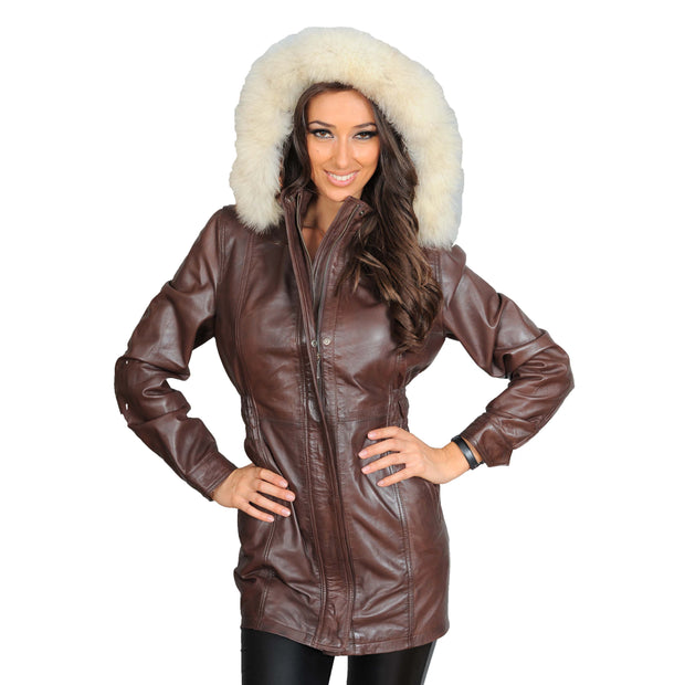 Womens Duffle Leather Coat Detachable Hood 3/4 Long Parka Jacket Mila Brown Front 2