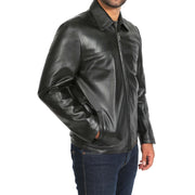 Mens Classic Zip Fasten Box Leather Jacket Tony Black side view
