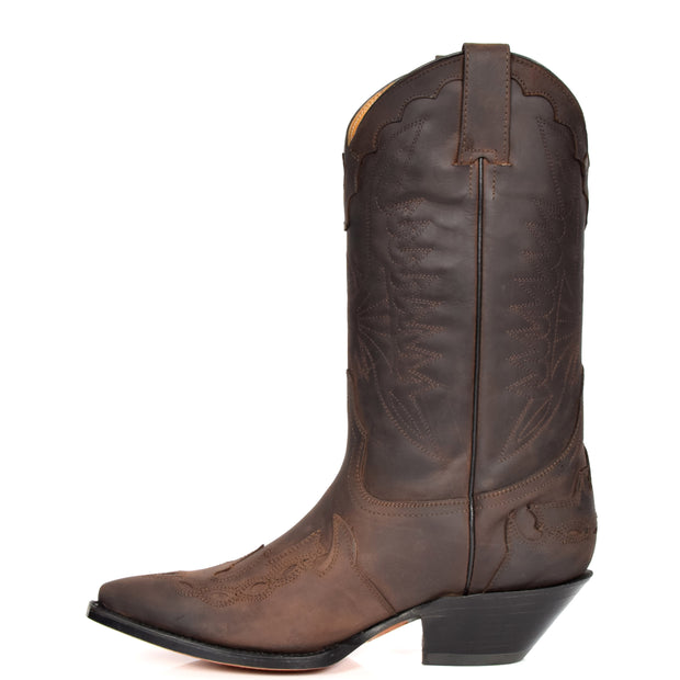 Real Leather Pointed Toe Cowboy Boots AZ350 Brown Side 2
