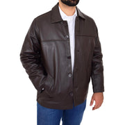 Gents Real Leather Button Box Jacket Classic Regular Fit Coat Luis Brown Open 1