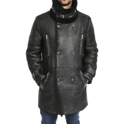 Mens Genuine Sheepskin 3/4 Long Reefer Trench Coat Bruno Black Front