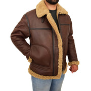 Mens Brown Real Sheepskin B3 Flying Bomber Jacket Shearling Aviator Pilot Coat Larry Open 2