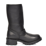 Real Leather Round Toe Buckle Design Biker Boots ATB45H Black Side 2
