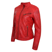 Womens Fitted Leather Biker Jacket Casual Zip Up Coat Jenny Red Front  Angle 2