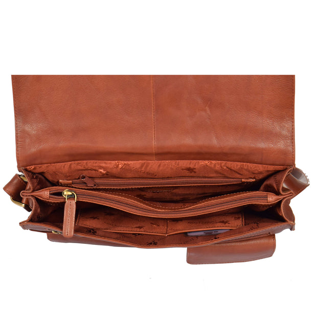 Womens BROWN Leather Messenger Cross body Shoulder Bag A53 Top Open