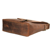 Real Leather Shoulder Messenger Vintage Organiser Flight Bag A761 Tan Letdown