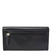 Womens Soft Leather Clutch Purse Envelope Style Wallet AVT3 Black Back