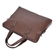 Unisex Slimline Brown Leather Briefcase Cross Work Satchel Shoulder Bag Benin Front Letdown
