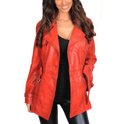 Womens Soft Leather Trench Coat Olivia Red Open