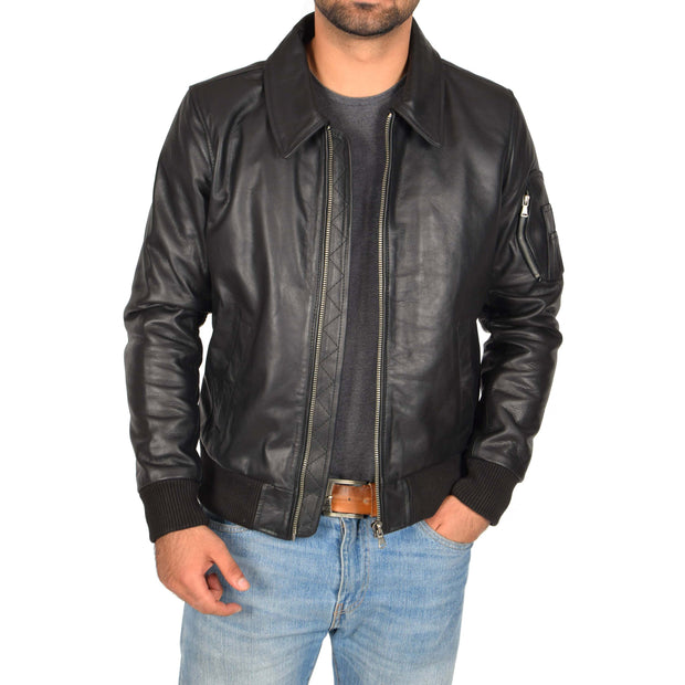Mens Real Cowhide Bomber Leather Jacket Pilot Jacket Lance Black Open 1