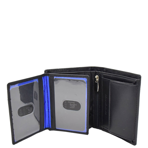 Mens Soft Leather Small Wallet Bifold Purse AL03 Black Open 2