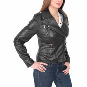 Womens Fitted Trendy Biker Leather Jacket Beyonce Black side