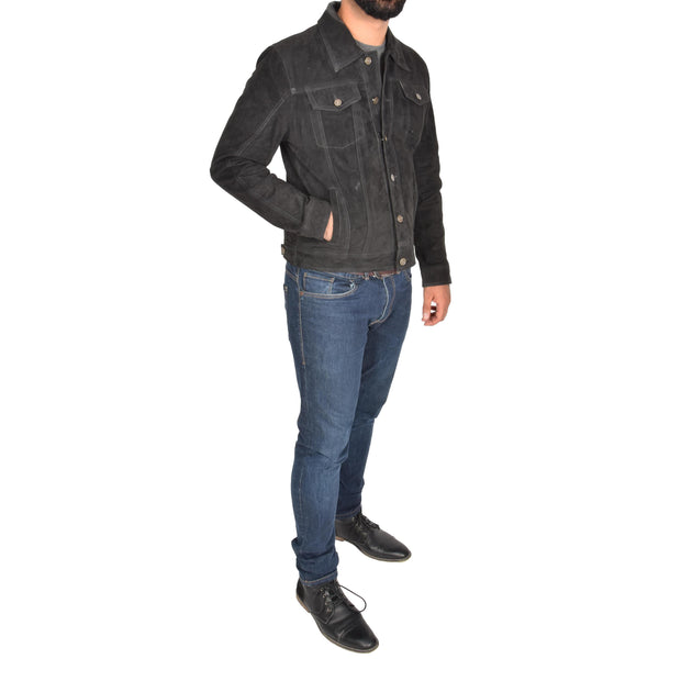 Mens Real Soft Goat Suede Trucker Denim Style Jacket Chuck Black Full 1