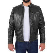 Mens Soft Leather Biker Jacket High Quality Quilted Design Tucker Black Open 1