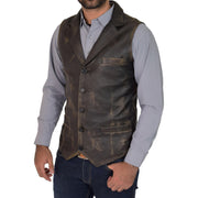 Mens Genuine Soft Leather Waistcoat Western Vest Yelek Rhys Rub Off Front 2