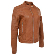 Womens Soft Tan Leather Biker Jacket Designer Stylish Fitted Quilted Celeste