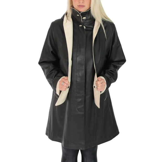 Ladies Parka Leather Coat Black Beige Trim Hooded with Scarf Dress Jacket Pat Front 2
