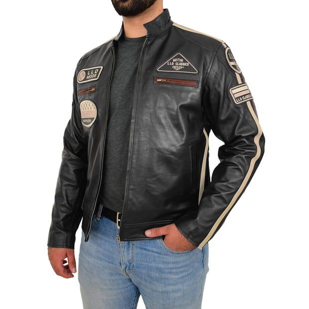 Mens BLACK Leather Biker Jacket Slim Fit Motor Sports Badges Coat Wayne Open Side 1
