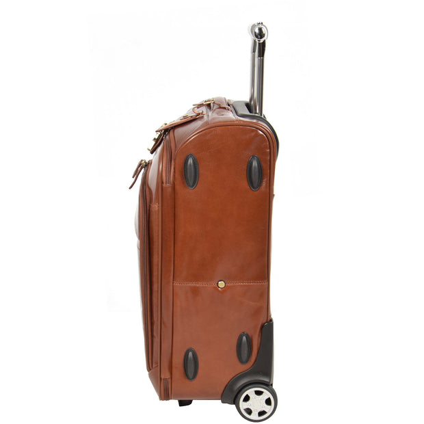 Real Leather Suitcase Cabin Trolley Hand Luggage A0518 Chestnut Side 2