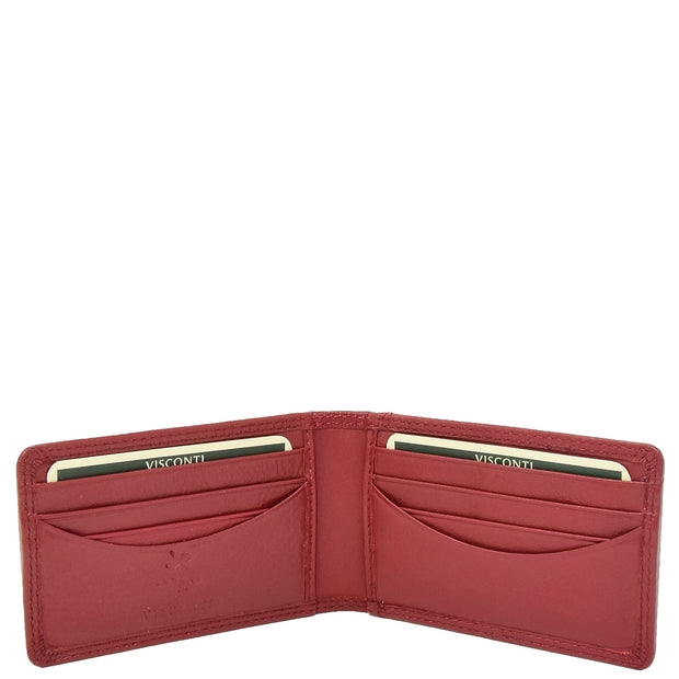 Real Leather Credit Card Holder Oyster Bus Pass ID Bifold Slim Wallet AV5 Red Open