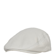 Genuine White Leather Flat Cap English Granddad Baker-boy Hat Arthur Side Angle