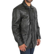 Gents Classic Soft Leather Parka Overcoat Clive Black side view