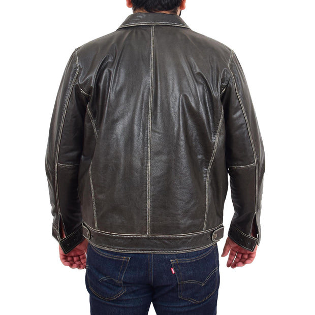 Mens Real Cowhide Grey Jacket Biker Trucker Vintage Style Hoodie Jason Back Without Hood