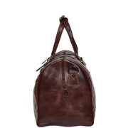 Brown Luxury Leather Holdall Travel Duffle Weekend Cabin Bag Targa side