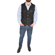 Mens Real Suede Leather Waistcoat Classic Vest Yelek Status Black Full