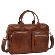 Pure Leather Briefcase Laptop Satchel Office Business Bag Otis Cognac