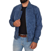 Mens Soft Goat Suede Bomber Varsity Baseball Jacket Blur Blue Open 2