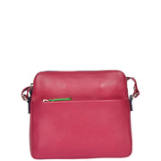 Womens Soft Leather Cross Body BERRY Sling Shoulder Bag Polly Front