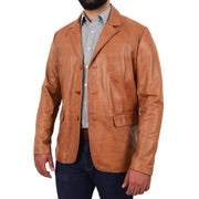 Mens Leather Blazer Real Lambskin Jacket Dinner Suit Style Coat Dean Cognac Open Angle 1