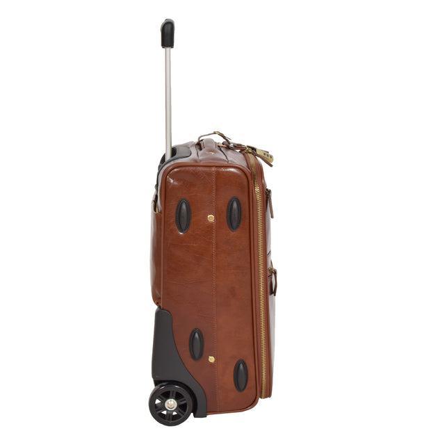 Exclusive Leather Trolley Hand Luggage Cabin Suitcase Concorde Chestnut Side 2