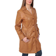 Womens 3/4 Button Fasten Leather Coat Cynthia Tan Front