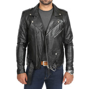 Mens Brando Biker Leather Jacket Elvis Black zip open