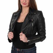 Womens Fitted Cropped Bustier Style Leather Jacket Amanda Black Open